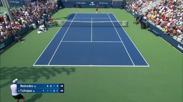 play video AI Match Highlight: Medvedev vs. Tsitsipas - Round 2
