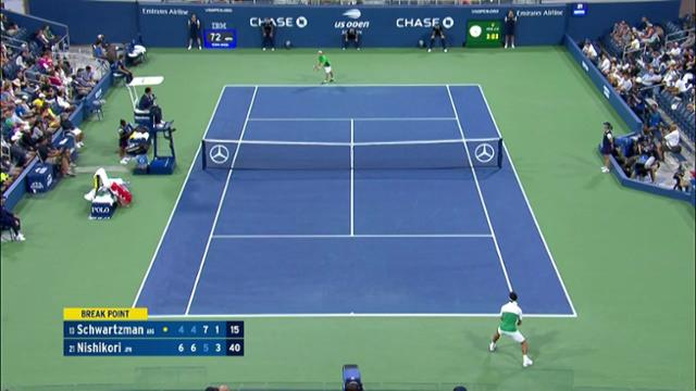play video AI Match Highlight: Schwartzman vs. Nishikori - Round 3