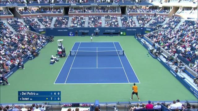play video AI Match Highlight: Del Potro vs. Isner - Quarter-Finals