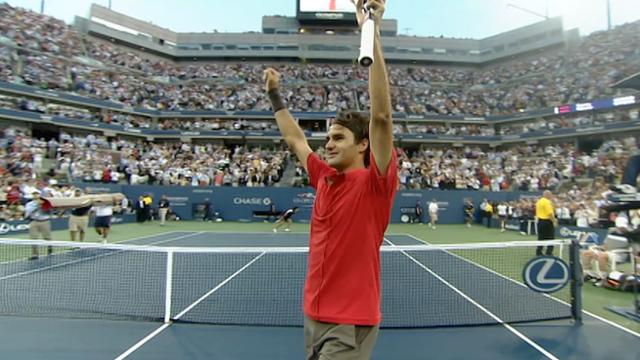 play video Celebrating 100: Federer wins fifth US Open title in 2008